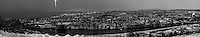 Early Morning Winter Panorama of Trondheim Norway. Composite of 10 vertical images taken with a Nikon D2xs and 50 mm f/1.4D lens (ISO 400, 50 mm, f/1.4, 1/60 sec). Images processed with DxO and AutoPano Giga. Converted to B&W with Nik Silver Efex Pro 2.