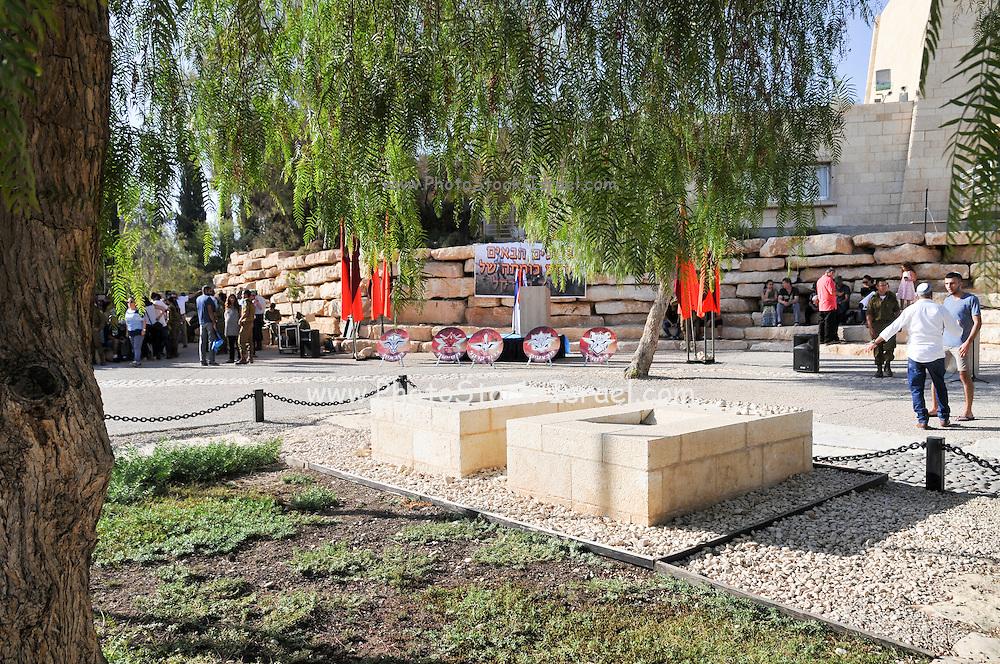 Israel, Negev, Kibbutz Sde Boker, the grave of David (right) and Pola (left) Ben Gurion The Desert in the background