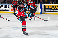 KELOWNA, BC - MARCH 11: Jake Poole #23 of the Kelowna Rockets warms up with a shot on net against the Victoria Royals at Prospera Place on March 11, 2020 in Kelowna, Canada. (Photo by Marissa Baecker/Shoot the Breeze)