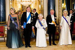 Queen Maxima and King Willem-Alexander of the Netherlands, Queen Elizabeth II, The Prince of Wales and The Duchess of Cornwall attend a State Banquet at Buckingham Palace in London, during their State Visit to the UK on October 23, 2018. Photo by Robin Utrecht/ABACAPRESS.COM