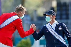 RIESENBECK - FEI Jumping European Championship Riesenbeck 2021<br /> <br /> THIEME Andre (GER), FREDRICSON Peder (SWE)<br /> Siegerehrung / Prize giving ceremony<br /> Individual Final over 2 Rounds<br /> Round 2<br /> <br /> Hörstel-Riesenbeck, Reitanlage Riesenbeck International<br /> 05. September 2021<br /> © www.sportfotos-lafrentz.de/Stefan Lafrentz