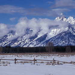 Grand Teton N.P., WY.A ranch and the Grand Tetons.