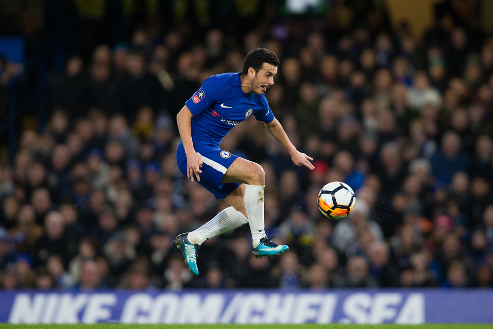 Chelsea's Pedro controls the ball on the way to scoring his side's second goal <br /> <br /> Photographer Craig Mercer/CameraSport<br /> <br /> Emirates FA Cup Fifth Round - Chelsea v Hull City - Friday 16th February 2018 - Stamford Bridge - London<br />  <br /> World Copyright © 2018 CameraSport. All rights reserved. 43 Linden Ave. Countesthorpe. Leicester. England. LE8 5PG - Tel: +44 (0) 116 277 4147 - admin@camerasport.com - www.camerasport.com