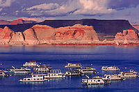 Houseboats at Wahweap Marina, Lake Powell, Glen Canyon National Recreation Area, Arizona USA