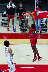 NORMAL, IL - February 27: Antonio Reeves gets out the drain cleaner with a hanging dunk during a college basketball game between the ISU Redbirds and the Northern Iowa Panthers on February 27 2021 at Redbird Arena in Normal, IL. (Photo by Alan Look)