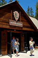 Asian tourist at Lodgepole Visitor Center and Village, Sequoia National Park, Western Sierra, California