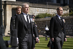 The Duke of York and the Earl of Wesex with Prince Harry walking in the procession at Windsor Castle, Berkshire, during the funeral of the Duke of Edinburgh. Picture date: Saturday April 17, 2021.
