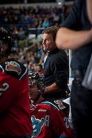 KELOWNA, CANADA - SEPTEMBER 20: Scott Hoyer, athletic therapist of the Kelowna Rockets stands on the bench against the Kamloops Blazers on September 20, 2014 at Prospera Place in Kelowna, British Columbia, Canada.   (Photo by Marissa Baecker/Shoot the Breeze)  *** Local Caption *** Scott Hoyer;