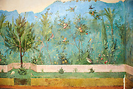 Painted Domestic Pine in the Roman fresco of a garden from Villa Livia (Early first century AD), Rome, Livia was the wife of Roman emperor Augustus.  Museo Nazionale Romano ( National Roman Museum), Rome, Italy.<br /> Trees and shrubs had symbolic importance to the Romans as can be see by the plants used in the trompe-l'œil frescoes from the Villa Livia, Rome, which contains plants linked to the deities particularily venerated by Augustus and Livia. <br /> <br /> Domestic pine: present in the mystery rites of Cybele, Attis and Dionysus. Laurel: sacred to Apollo, symbol of triumph, it recalls the famous prodigy associated with Livia Drusilla. .<br /> <br /> If you prefer to buy from our ALAMY PHOTO LIBRARY  Collection visit : https://www.alamy.com/portfolio/paul-williams-funkystock/national-roman-museum-rome-fresco.html<br /> <br /> Visit our ROMAN ART & HISTORIC SITES PHOTO COLLECTIONS for more photos to download or buy as wall art prints https://funkystock.photoshelter.com/gallery-collection/The-Romans-Art-Artefacts-Antiquities-Historic-Sites-Pictures-Images/C0000r2uLJJo9_s0