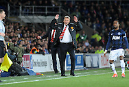 Manchester United Manager David Moyes in animated mood on the touchline.<br /> Barclays Premier League match, Cardiff city v Manchester Utd at the Cardiff city stadium in Cardiff, South Wales on Sunday 24th Nov 2013. pic by Phil Rees, Andrew Orchard sports photography,