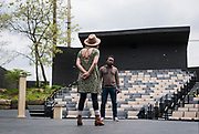 """Gavin Lawrence, right, performs a scene with Kelsey Brennan during rehearsal of William Shakespeare's """"Twelfth Night"""" at American Players Theatre in Spring Green, WI on Thursday, May 16, 2019."""