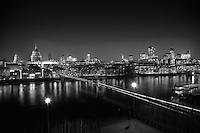 City of London & Millennium Bridge in black and white