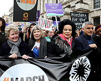 Sandi Toksvig, Bianca Jagger, Sadiq Khan. at March4Women 2020 rally at Southbank Centre on March 08, 2020 in London, England. The event is to mark International Women's Day photo by Roger Alarcon