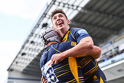 Josh Adams of Worcester Warriors celebrates his try with team mates - Mandatory by-line: Craig Thomas/JMP - 13/04/2019 - RUGBY - Sixways Stadium - Worcester, England - Worcester Warriors v Sale Sharks - Gallagher Premiership Rugby
