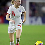 England defender Leah Williamson (14) dribbles the ball during the first match of the 2020 She Believes Cup soccer tournament at Exploria Stadium on 5 March 2020 in Orlando, Florida USA.