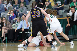 12 December 2015:  Randy Fox watches a pile of players on the floor struggling for possession during an NCAA women's basketball game between the Wisconsin Stevens Point Pointers and the Illinois Wesleyan Titans in Shirk Center, Bloomington IL