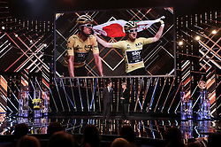 Geraint Thomas is interviewed on stage by Clare Balding during the BBC Sports Personality of the Year 2018 at Birmingham Genting Arena.
