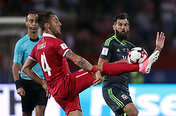 Serbia's Nemanja Gudelj (left) and Wales' Joe Ledley battle for the ball during the 2018 FIFA World Cup Qualifying, Group D match at the Rajko Mitic Stadium, Belgrade. PRESS ASSOCIATION Photo. Picture date: Sunday June 11, 2017. See PA story SOCCER Serbia. Photo credit should read: Simon Cooper/PA Wire. RESTRICTIONS: Editorial use only, No commercial use without prior permission.