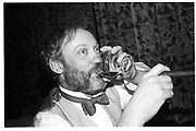 David Kirke, night before the Dangerous Sports club ski race, St. Moritz. 1984. © Copyright Photograph by Dafydd Jones 66 Stockwell Park Rd. London SW9 0DA Tel 020 7733 0108 www.dafjones.com