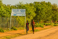 Say No to Early Marriage sign, Dassach tribe village, Omo Valley,  Southern Nations Nationalities and People's Region, Ethiopia.