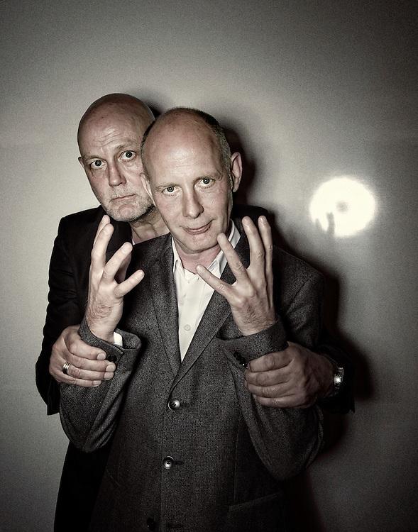 Netherlands. Amsterdam, 28-04-2014. Photo: Patrick Post.  Portrait of the Brothers Van Berkel. Left actor, Chiel van Berkel. Right architect Ben van Berkel.