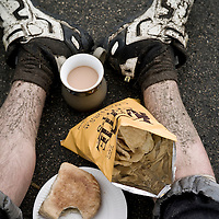 Lunch stop during a 3-day mountain bike traverse of the Lakes and Yorkshire moors, England.