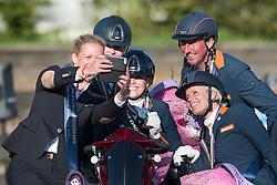 Team Netherlands, Voets Sanne, Hosmar Frank, Van den Dulk Nicole, Van der Horst Rixt, Heuitink Joyce, (NED) <br /> Prize Giving Teams<br /> Para-Dressage FEI European Championships Deauville 2015<br /> © Hippo Foto - Jon Stroud<br /> 19/09/15