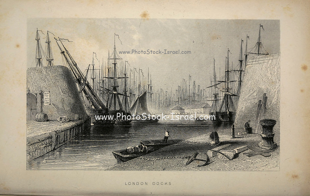 London Docks From the book Illustrated London, or a series of views in the British metropolis and its vicinity, engraved by Albert Henry Payne, from original drawings. The historical, topographical and miscellanious notices by Bicknell, W. I; Payne, A. H. (Albert Henry), 1812-1902 Published in London in 1846 by E.T. Brain & Co