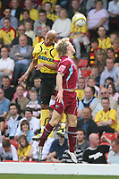 Photo: Pete Lorence/Richard Lane Photography. <br />Watford v Scunthorpe United. Coca-Cola Championship. 26/04/2008. <br />Jordan Stewart clears the ball from Kevin Hurst