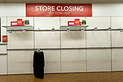 Empty shelves inside the Folkestone Debenhams store in the final few days of the 'Everything Must Go' sale before closing down on 13th Jauary 2020 in Folkestone, Kent. United Kingdom. The company announced the closure of 19 stores across the UK after going into administration in 2019.