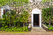 Entrance to Moku'aikaua Church (first church in Hawaii), Kailua-Kona, Hawaii USA