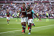 Michail Antonio of West Ham United celebrates with Ashley Fletcher after scoring his sides 1st goal from a header to make it 1-0 ..Premier league match, West Ham Utd v AFC Bournemouth at the London Stadium, Queen Elizabeth Olympic Park in London on Sunday 21st August 2016.<br /> pic by John Patrick Fletcher, Andrew Orchard sports photography.