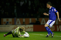 Photo: Steve Bond.<br />Leicester City v Leeds United. Coca Cola Championship. 13/03/2007. Leeds keeper Caspar Ankergren gathers safely at the feet of Geoff Horsfield