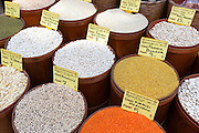 Spice, pulses dried goods lentils bulgar wheat beans for sale at food and spice market Kadikoy Asian side Istanbul, East Turkey