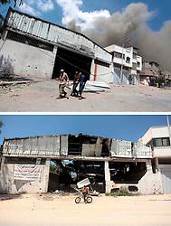 07.07.2015, Gaza city, PSE, Nahostkonflikt zwischen Israel und Palästina, Vorher und Nachher, im Bild eine Combo von zwei Bildern das obere ist im Krieg des Sommers 2014 zwischen Palästina und Israel und aufgenommen worden, das untere am 07. Juli 2015 // A combination of pictures made on July 7, 2015 shows (top) Palestinians flee to safety as the Israeli military attacks the Shejaiya neighborhood on July 20, 2014, in Gaza City, and the same place (bottom) on July 7, 2015, a year after the 50-day war between Israel and Hamas' militants, Palestine on 2015/07/07. EXPA Pictures © 2015, PhotoCredit: EXPA/ APAimages/ Ashraf Amra<br /> <br /> *****ATTENTION - for AUT, GER, SUI, ITA, POL, CRO, SRB only*****