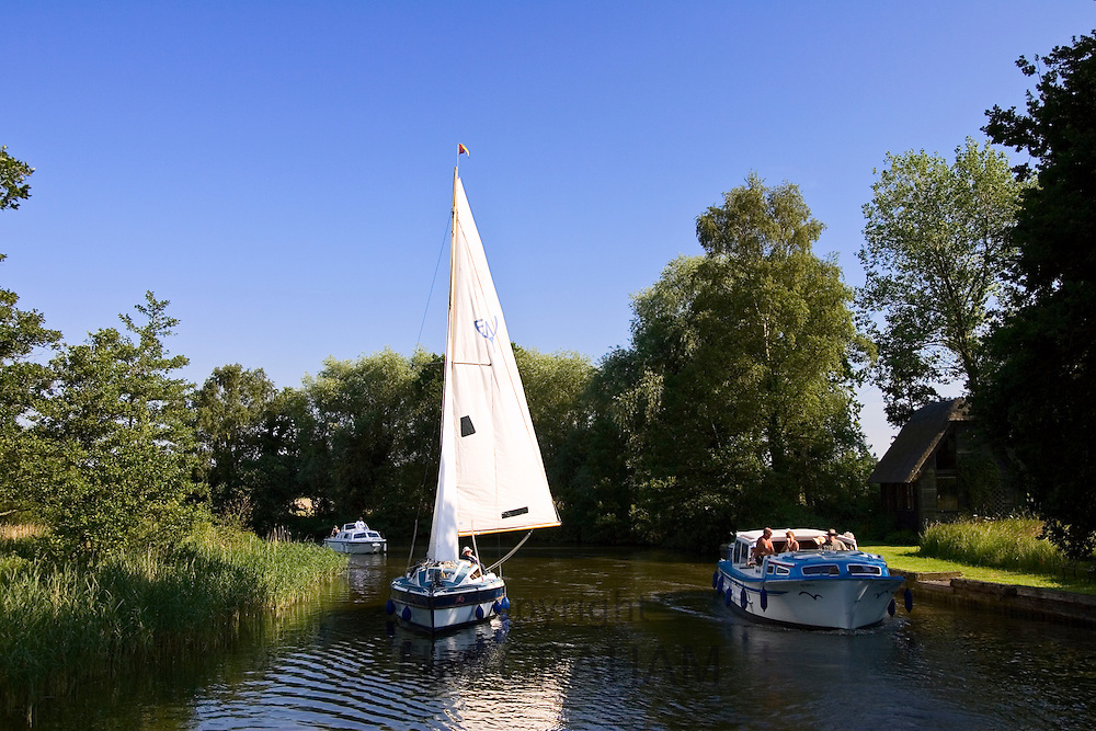 Sailing boat and river cruisers on the Norfolk Broads, United Kingdom