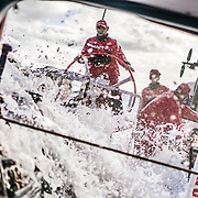 Leg 4, Melbourne to Hong Kong, day 17 on board MAPFRE, Xabi Fernandez at the helm, Sophie Ciszek and Pablo Arrarte next to him. Photo by Ugo Fonolla/Volvo Ocean Race. 17 January, 2018.