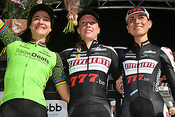 October 14, 2018 - Gieten, NETHERLANDS - Dutch Marianne Vos, Dutch Annemarie Worst and Italian Alice Maria Arzuffi pictured on the podium after the women's race at the first stage of the Superprestige cyclocross cycling competition, in Gieten, Netherlands, Sunday 14 October 2018. BELGA PHOTO DAVID STOCKMAN (Credit Image: © David Stockman/Belga via ZUMA Press)