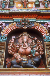 Detail of the colourful intricate carving on the temple at Madurai; Tamil Nadu; India,