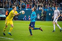 ST PETERSBURG, RUSSIA - OCTOBER 19, 2017. UEFA Europa League group stage: Zenit St Petersburg (Russia) 3 – 1 Rosenborg BK (Norway). Rosenborg goalkeeper Andre Hansenin (L) and Zenit St Petersburg's  Domenico Criscito (C).