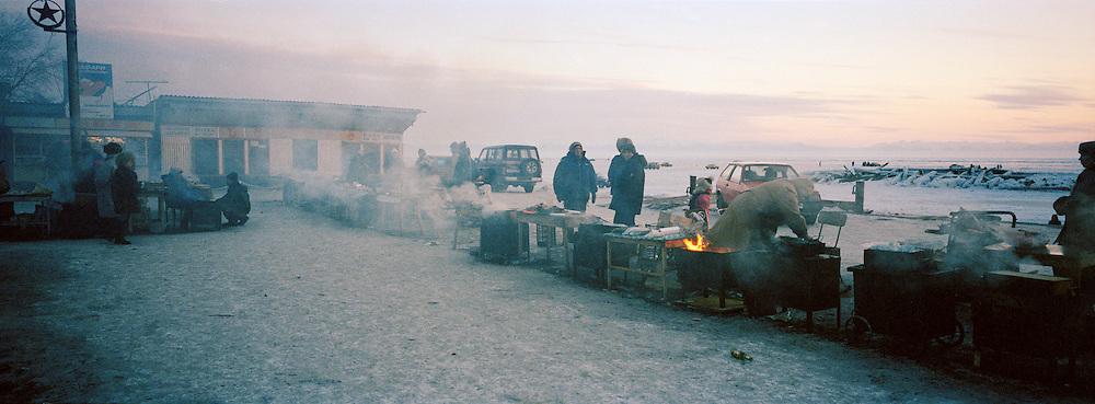 A market on the frozen Lake Biakal, Siberia, Russia