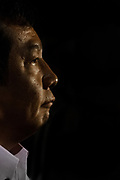 Yukio Edano, a former Chief Cabinet Secretary with the DPJ (Democratic Party Of Japan) speaks at a demo outside the Japanese parliament building against Prime Minister, Shinzo Abe and his reinterpretation of Article 9 of the Japanese Constitution. Nagatacho, Tokyo, Japan. Friday July 17th 2015.