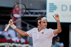 May 9, 2019 - Madrid, Madrid, Spain - Roger Federer seen reacting during the Mutua Madrid Open Masters match on day 7 at Caja Magica in Madrid. (Credit Image: © Legan P. Mace/SOPA Images via ZUMA Wire)