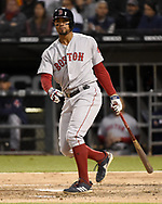 CHICAGO - MAY 04:  Xander Bogaerts #2 of the Boston Red Sox bats against the Chicago White Sox on May 4, 2019 at Guaranteed Rate Field in Chicago, Illinois.  (Photo by Ron Vesely)  Subject:  Xander Bogaerts