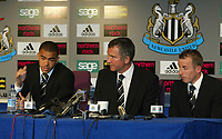 Photo. Andrew Unwin, Digitalsport<br /> Newcastle United v Aston Villa, Barclays Premiership, St James' Park, Newcastle upon Tyne 02/04/2005.<br /> Newcastle's Kieron Dyer (L) and Lee Bowyer (R) offer an apology for their behaviour to the club, fans and manager, Graeme Souness (C)