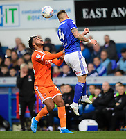 Blackpool's Joe Nuttall vies for possession with Ipswich Town's Luke Chambers<br /> <br /> Photographer Chris Vaughan/CameraSport<br /> <br /> The EFL Sky Bet League One - Ipswich Town v Blackpool - Saturday 23rd November 2019 - Portman Road - Ipswich<br /> <br /> World Copyright © 2019 CameraSport. All rights reserved. 43 Linden Ave. Countesthorpe. Leicester. England. LE8 5PG - Tel: +44 (0) 116 277 4147 - admin@camerasport.com - www.camerasport.com
