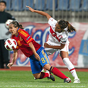 Turkey's Eylul ELGALP (R) and Spain's Sonia BERMUDEZ (L) during their UEFA 2013 Woman's Euro Qualifying Group Stage Group 2 soccer match Turkey betwen Spain at Kasimpasa Recep Tayyip Erdogan stadium in Istanbul September 17, 2011. Photo by TURKPIX