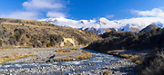Panoramic view of the Torlesse Range looking up  the Broken River along Highway 73, New Zealand.