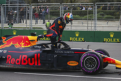 April 29, 2018 - Baku, Azerbaijan - RICCIARDO Daniel (aus), Aston Martin Red Bull Tag Heuer RB14, getting out of his car after his crash with VERSTAPPEN Max (ned), Aston Martin Red Bull Tag Heuer RB14, during the 2018 Formula One World Championship, Grand Prix of Europe in Azerbaijan from April 26 to 29 in Baku - Photo Sebastiaan Rozendaal / DPPI  Motorsports: World Championship; 2018; Grand Prix Azerbaijan, Grand Prix of Europe, Formula 1 2018  (Credit Image: © Hoch Zwei via ZUMA Wire)