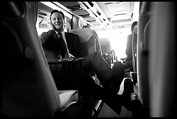 Leader of the Conservative Party David Cameron on the bus before a  walkabout in Torquay during his general election campaign, Wednesday April 21, 2010. Photo By Andrew Parsons / i-Images.